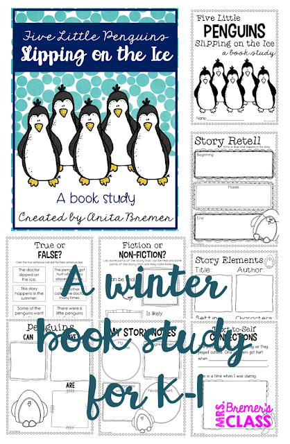 Five Little Penguins Slipping on the Ice book study companion activities to go with the book by Steve Metzger. Perfect for a winter theme in the classroom! Packed with fun ideas and guided reading literacy activities. Common Core aligned. K-2. #winter #penguins #bookstudy #bookstudies #literacy #guidedreading #1stgrade #2ndgrade #kindergarten #bookcompanion #bookcompanions #1stgradereading #kindergartenreading #winterbooks #picturebookactivities