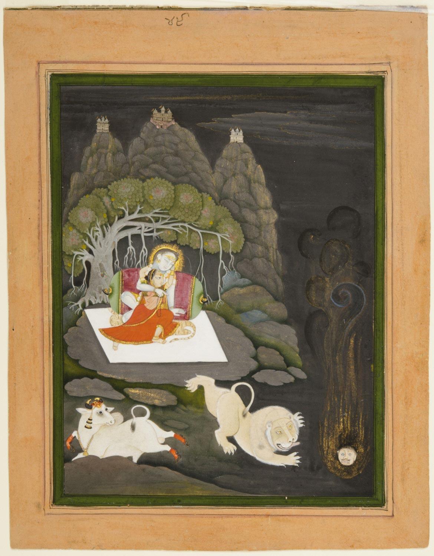 Shiva Incinerates Kama, Lord of Desire (Madana Bhasma) - Devgarh, Mewar, Rajasthan, Circa 1820