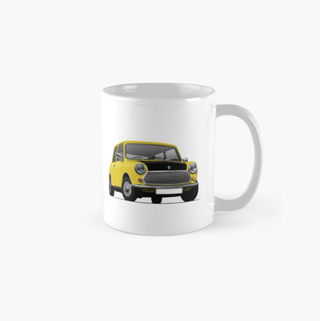 Yellow Mr. Bean style of  Morris Mini - Austin Mini - coffee mug