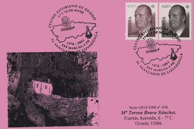 Tarjeta del matasellos de la XXV Marcha a pie a Covadonga del Centro Asturiano