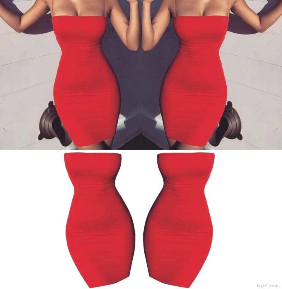 Ladies Bodycon Strap Fitted Dresses - Women's Sleeveless Red Spaghetti Mini Dress