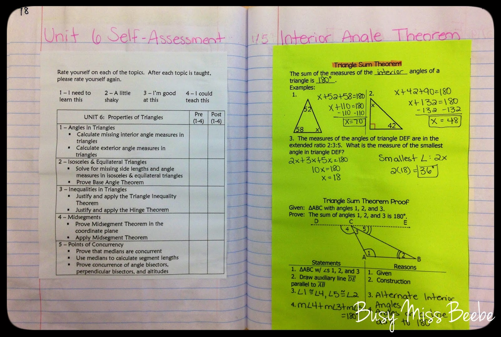 Busy miss beebe 2014 2015 geometry inb unit 6 triangle - Sum of the exterior angles of a triangle ...