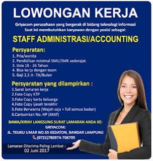 Kesempatan Kerja Lampung Terbaru Mei 2017 Dari GRIYACOM Bandar Lampung