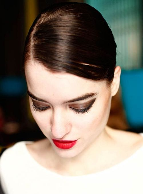 beautiful make-up with brown eyes and red lips