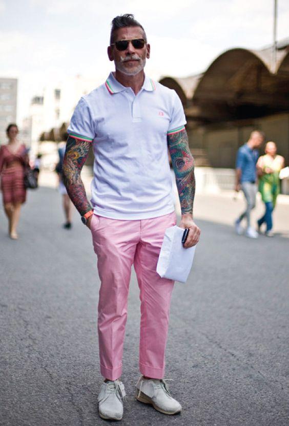 O Rosa  é uma das Tendências de Cores para o Verão 2018 na Moda Masculina.