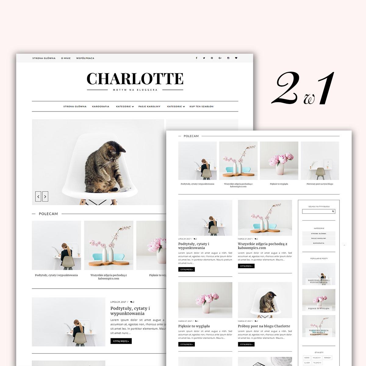 Motyw (szablon) na bloggera (blogspota) CHARLOTTE