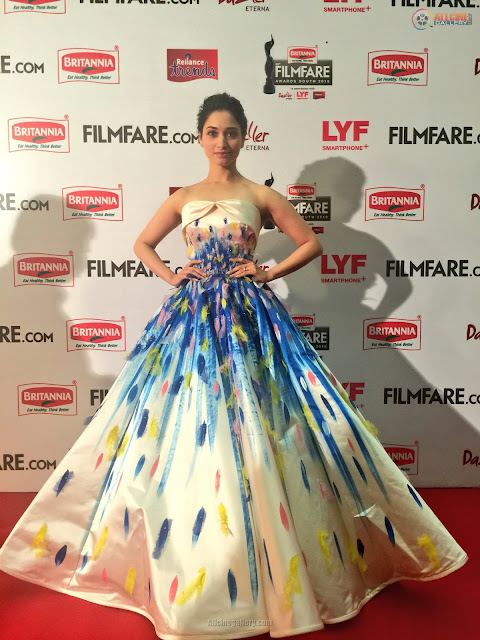 Tamannaah in Jean Louis Sabaji Hand Painted Ball Design Gown at 63rd Filmfare Awards