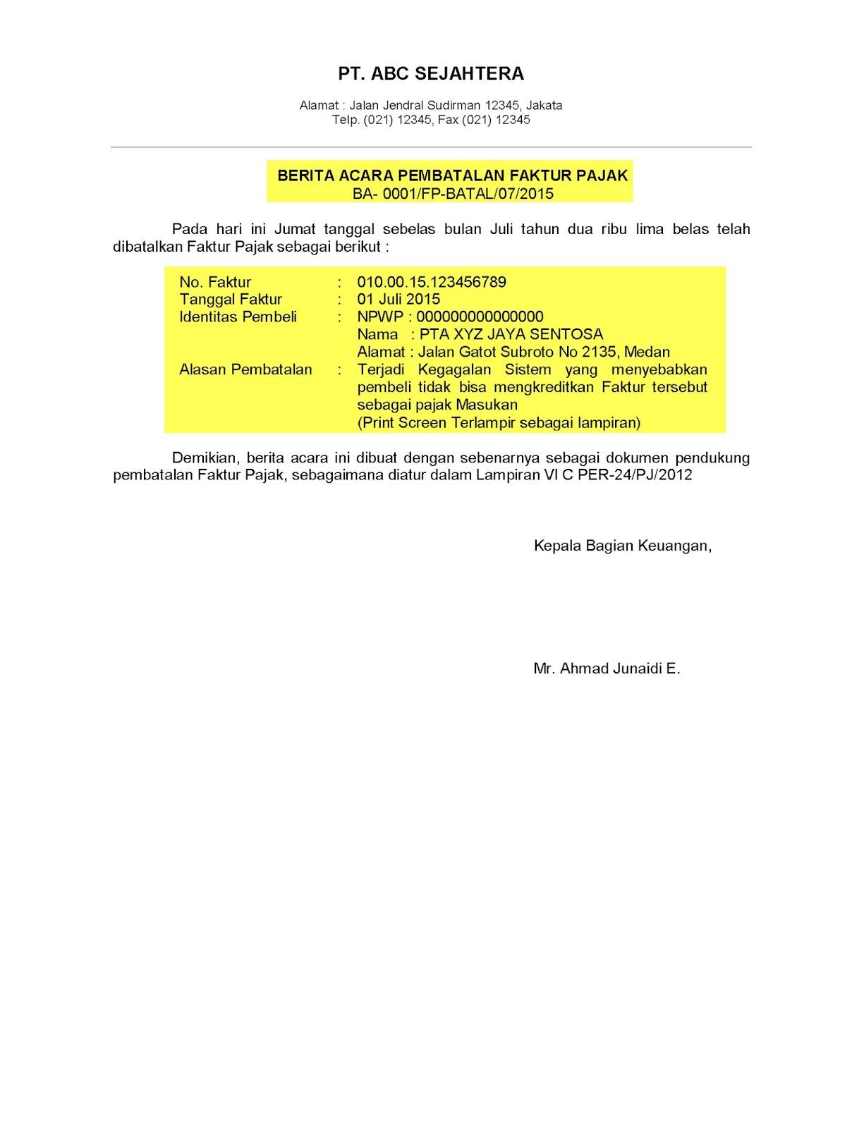 Contoh Surat Faktur Pajak Batal Surat 8