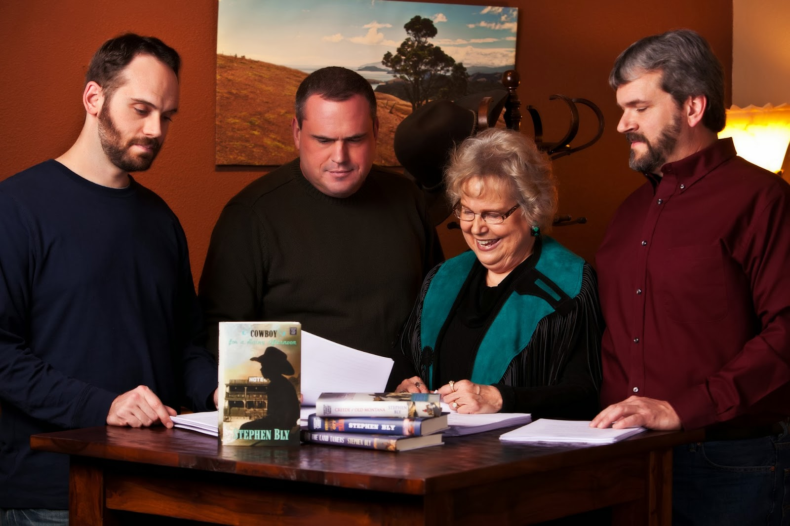 Author Janet Chester Bly and 3 sons: Aaron, Mike, & Russ Bly