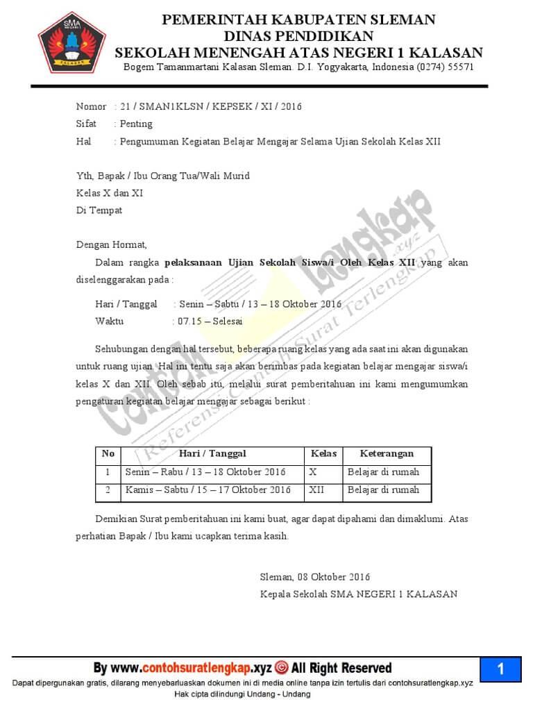 7 Contoh Surat Pemberitahuan Sekolah Untuk Kegiatan Pembayaran