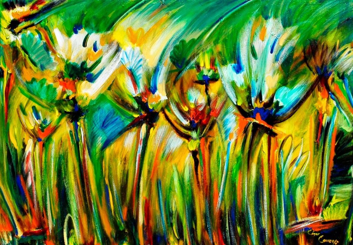 Cuadros modernos pinturas y dibujos flores abstractas - Cuadros flores modernas ...
