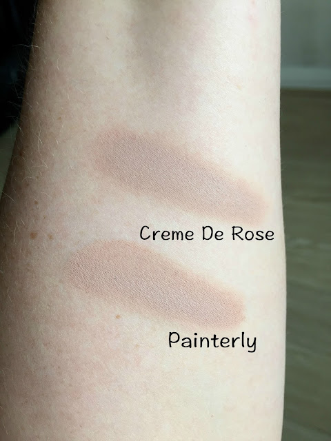swatch of maybelline colour tattoo in creme de rose v's swatch of mac painterly paint pot