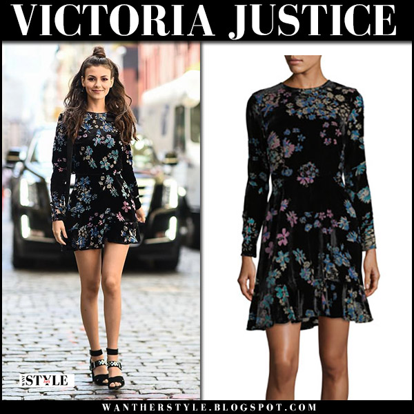 Victoria Justice in black floral print mini dress and black sandals rebecca minkoff new york fashion week september 9 2017