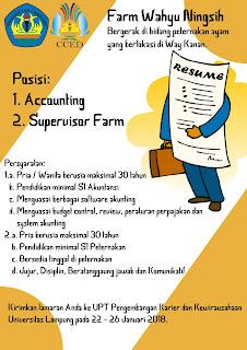 Open Rekruitment di Farm Wahyu Ningsih Way Kanan Lampung Terbaru Januari 2018.