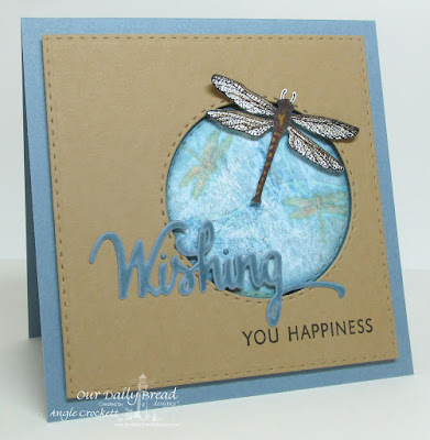 ODBD Custom Wishing Dies, ODBD Wishing Words, ODBD Dragonfly Single, ODBD Custom Double Stitched Circles Dies, ODBD Custom Double Stitched Squares Dies, Blooming Garden Paper Collection, Card Designer Angie Crockett