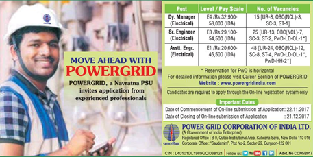 Power Grid PGCIL Recruitment 2018 | Engg/Manager/Diploma Trainees Posts