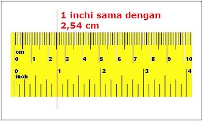 1 inchi sama dengan 2,54 cm