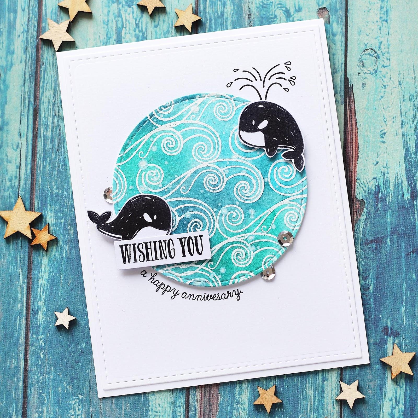 Открытка с китом с днем рождения