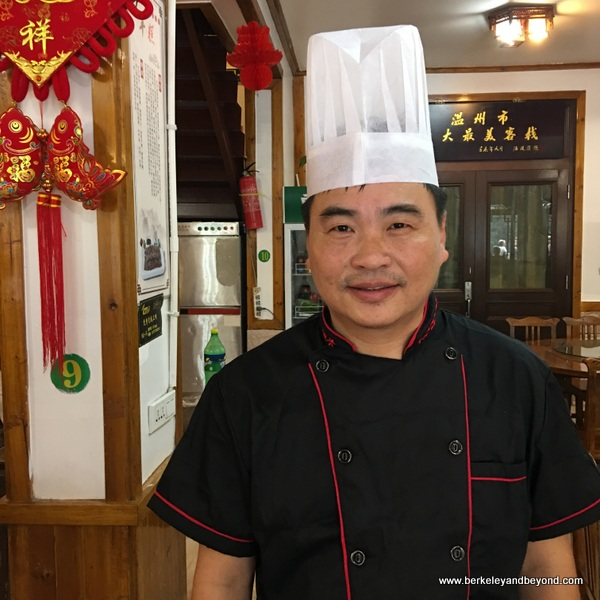 restaurant chef in Lingshang Renjia village in Zhejiang Province, Wenzhou, China