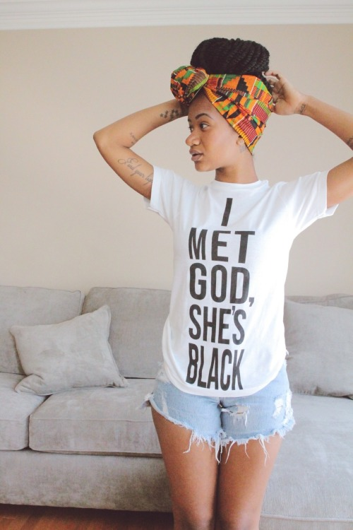 I MET GOD SHE IS BLACK shirt.  PYGear.com