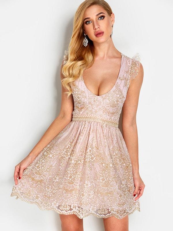 Pink Sequins Embellished Criss-cross Design V-neck Sleeveless Dress