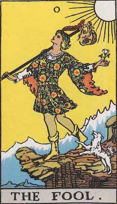 "The tarot car ""The Fool,"" depicting a youth approaching the edge of a cliff"