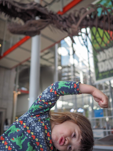 girl and t-rex skeleton