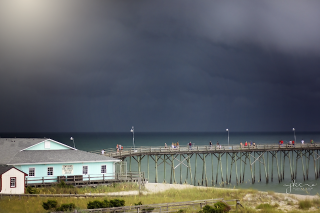 storm over ocean, north carolina beaches, kure beach pier, kure beach store, fort fisher pier