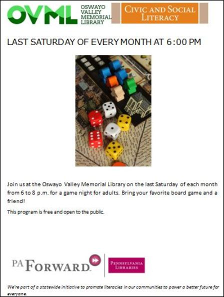 3-30 OVML Adult Game Night