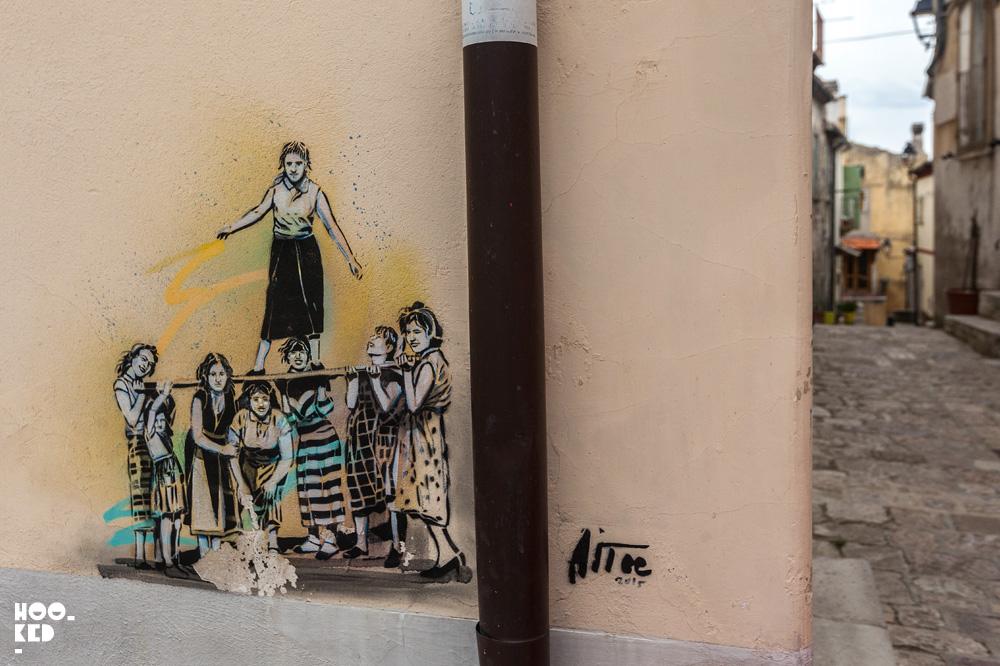 Stencil Street art in Civita campomarano, Italy by street artist Alice Pasquini