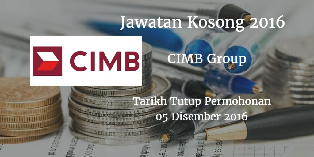 Jawatan Kosong CIMB Group 05 Disember 2016