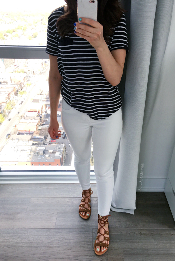 Everyday Stripe Tee and White Jeit an outfit - Fourth of July outfit inspiration - Tori's Pretty Things Blog