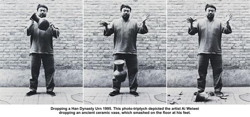 Dropping a Han Dynasty (1995) Fotografías de la acción realizada por Ai Weiwei