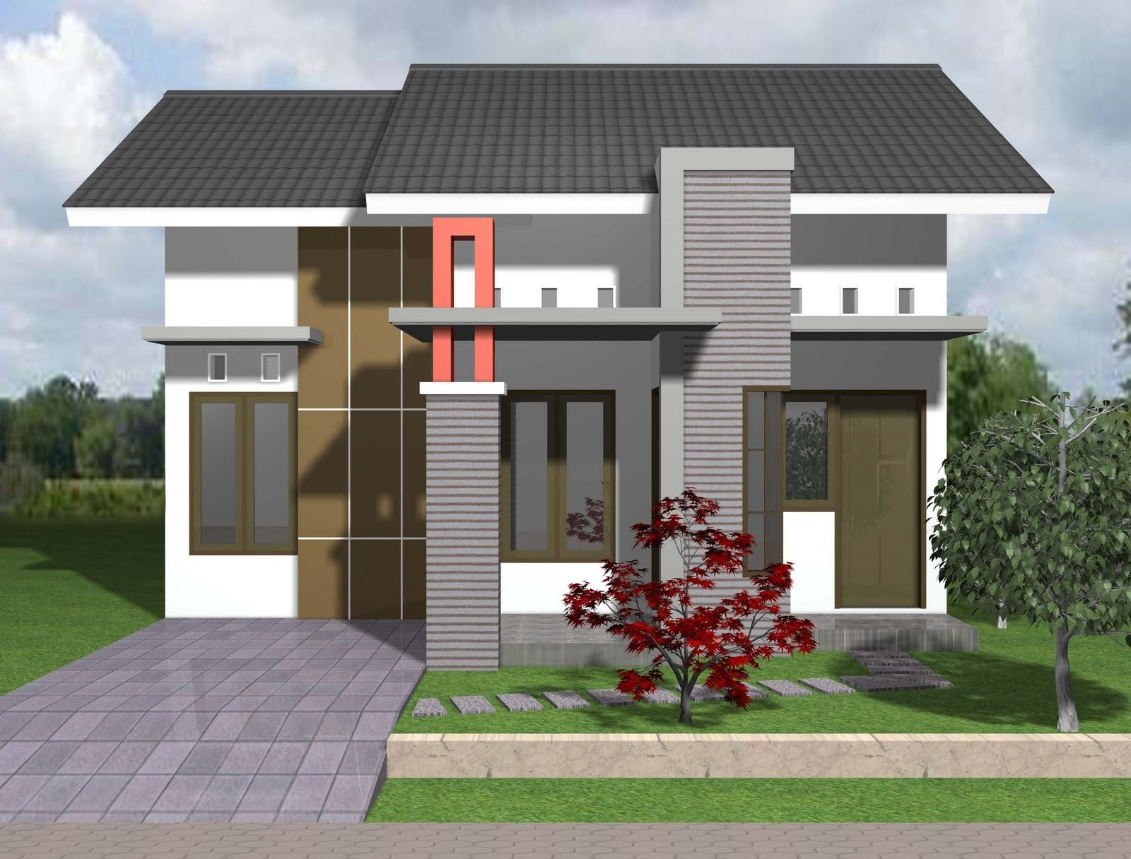 desain sketsa rumah type 45 minimalis