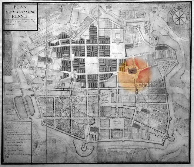 Plan de la ville de Rennes indiquant les possibilités de reconstruction après l'incendie de 1722