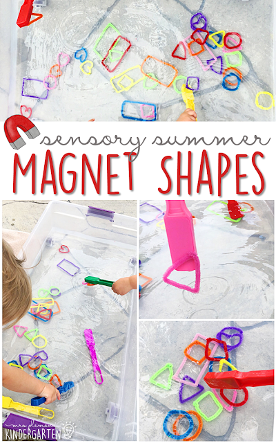 This summer fill your sensory bin with pipe cleaner shapes, water and use magnetic wands to play and explore! This is the perfect outdoor activity for summer tot school, preschool, or kindergarten!