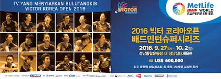stasiun tv yang menyiarkan kejuaraan bulutangkis Korea Open 2016