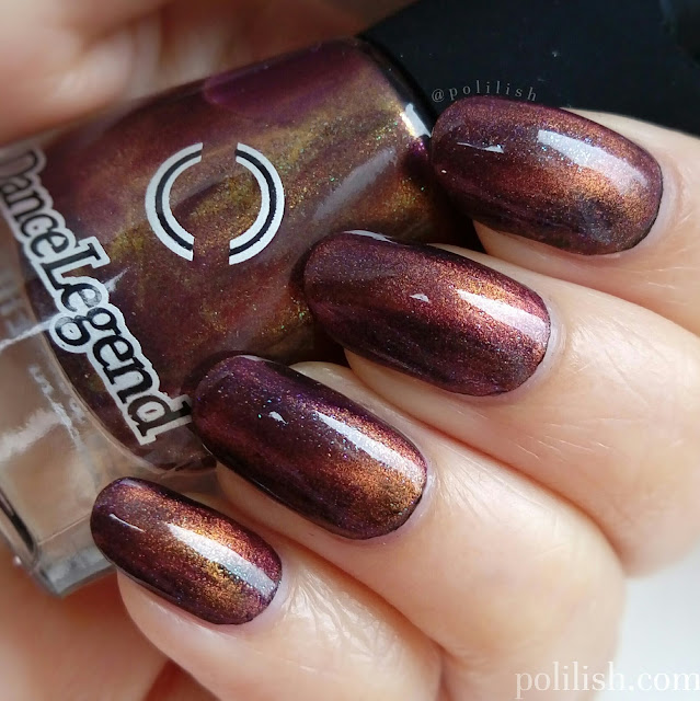 Swatch of Dance Legend 'Dirty Love' (magnetic), one thick coat over a black polish.
