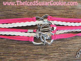 Hot Pink and White Ship  Anchor Hearts Infinity Sign Leather Bracelet by The Iced Sugar Cookie