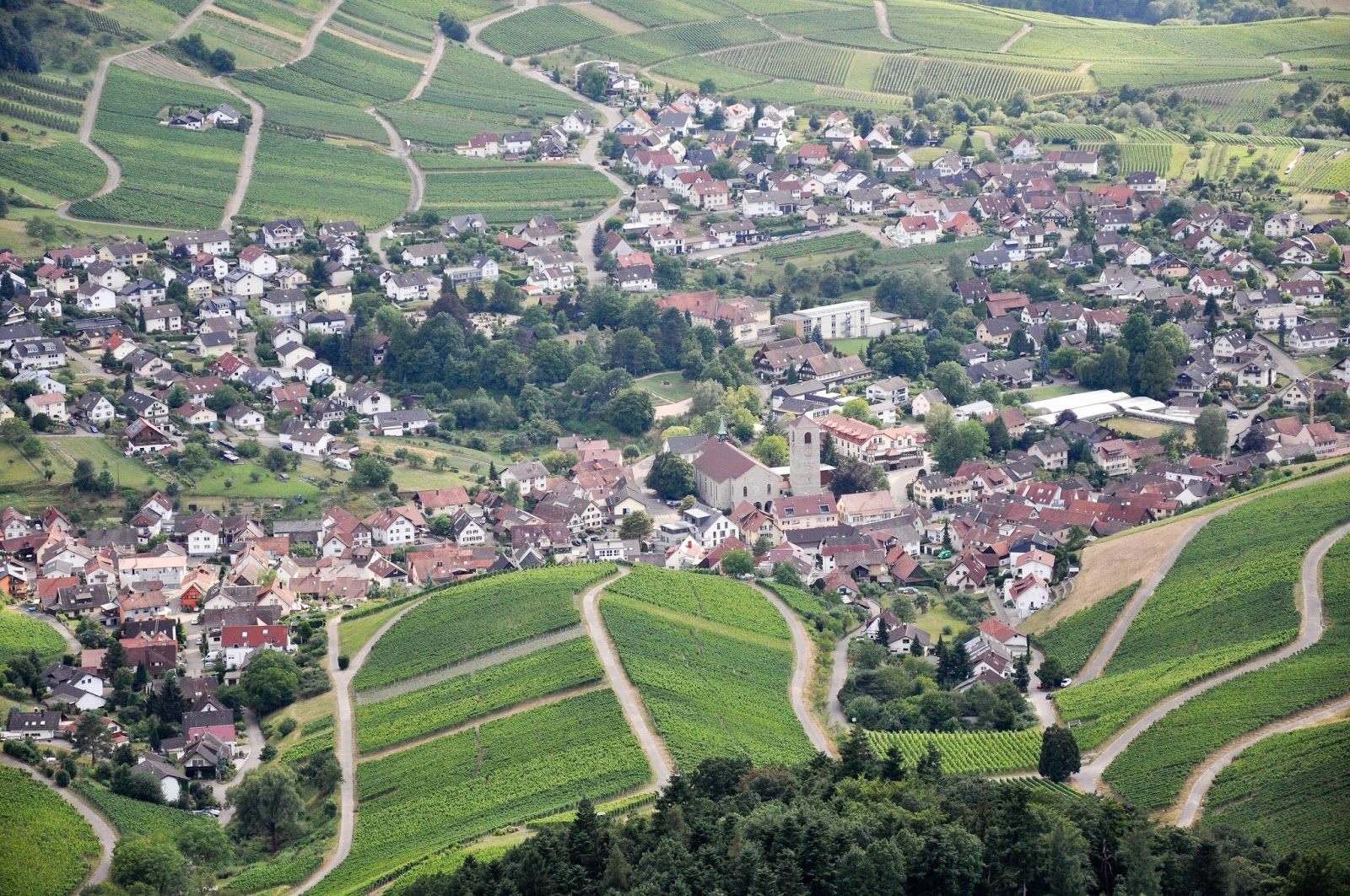 A village seen from the top of the Yburg Castle tower, Yburg, Germany