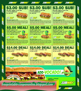 subway coupons printable