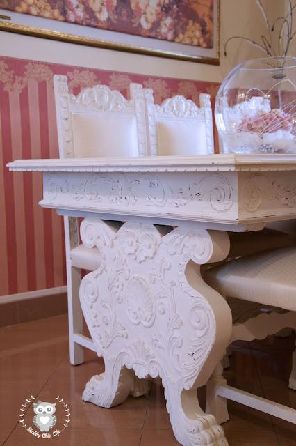 tavolo e sedie in stile rinascimentale trasformati con la vernice chalk paint Decora Facile