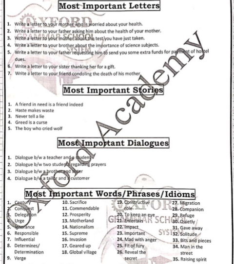 9th Class English Guess Paper 2019 ~ Sadaqat Academy