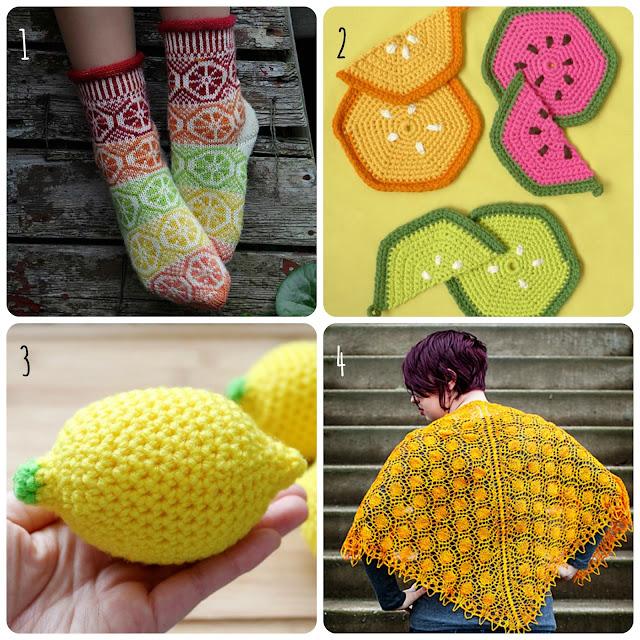 Fruity knitting and crochet patterns