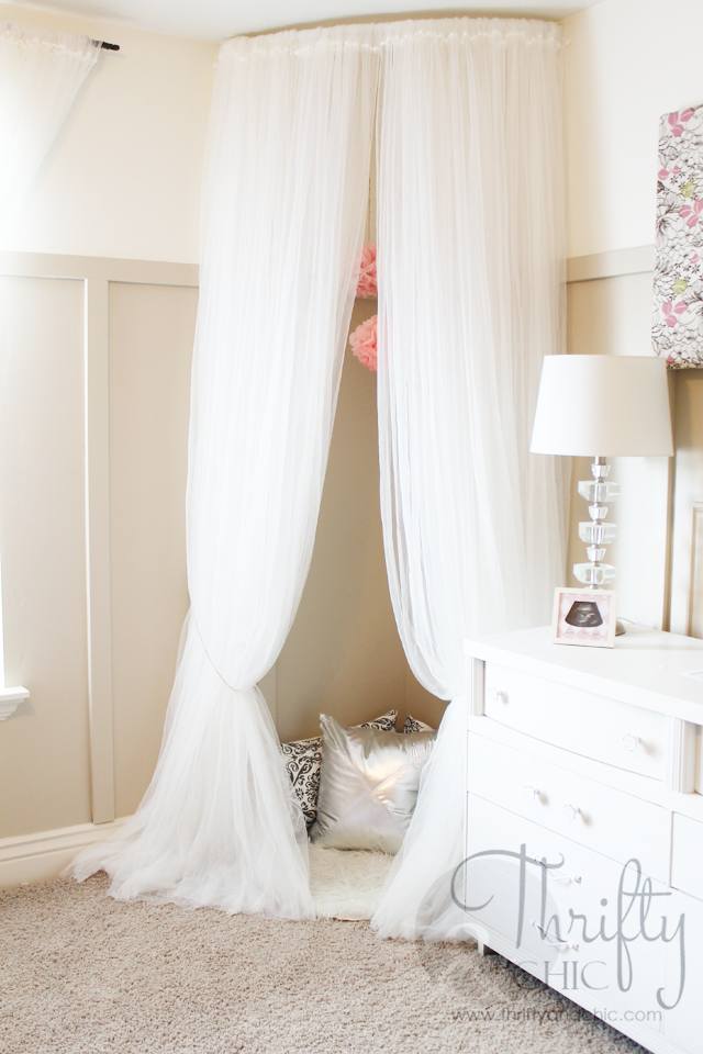 Whimsical Canopy Tent or Reading Nook made from curved curtain rod and $4 ikea curtains