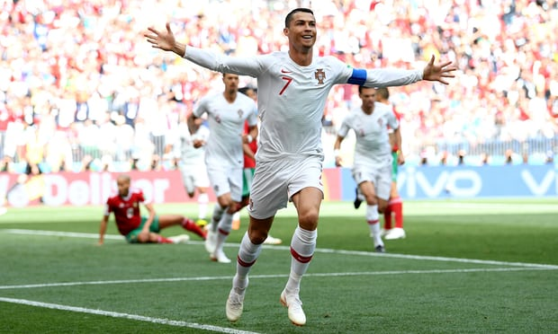 Cristiano Ronaldo celebrates scoring the opener for Portugal