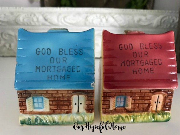 God Bless Our Mortgaged Home blue pink roof salt pepper shakers 1950's era kitchenware