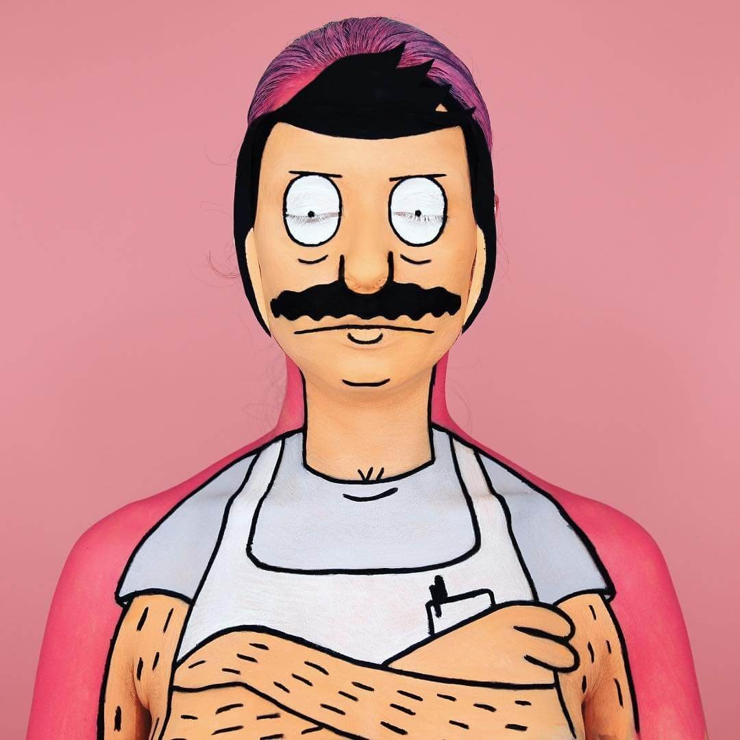 13-Bob-from-Bob-s-Burgers-Annie-Thomas-TV-Cartoon-Characters-on-Body-Painting-www-designstack-co