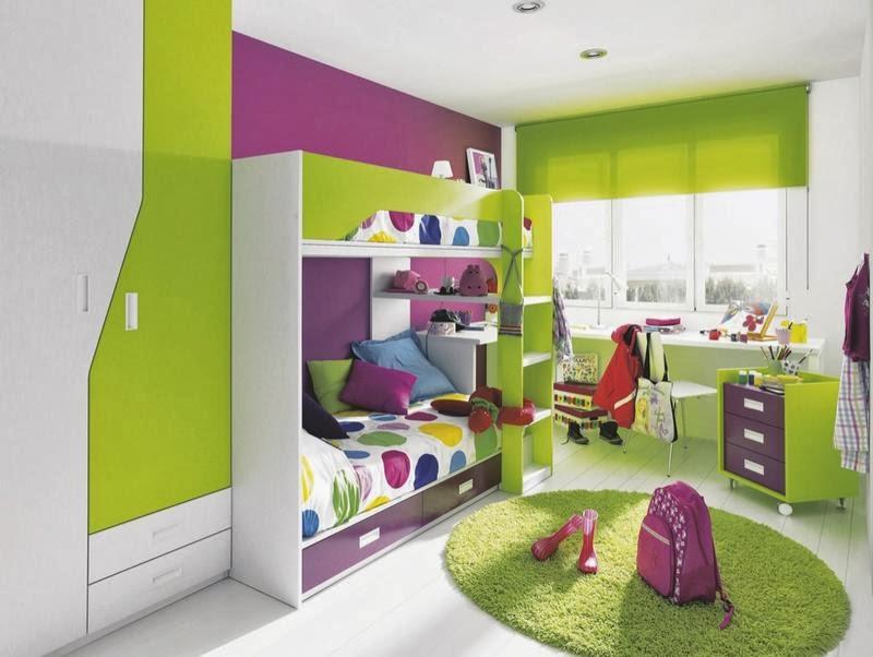 Dormitorio juvenil verde y morado decoraci n de - Habitaciones infantiles verdes ...