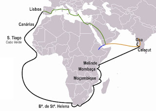 Vasco da Gama's travel route to India (black) by Nuno Tavares